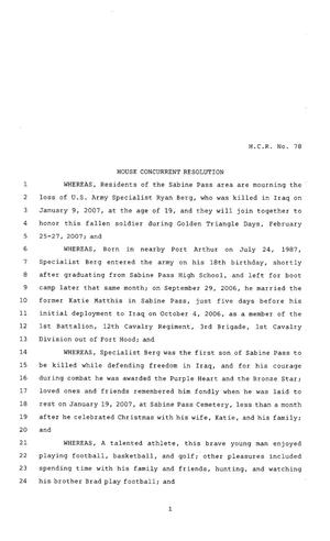 Primary view of object titled '80th Texas Legislature, Regular Session, House Concurrent Resolution 78'.