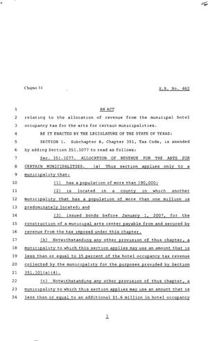 Primary view of object titled '80th Texas Legislature, Regular Session, Senate Bill 462, Chapter 14'.
