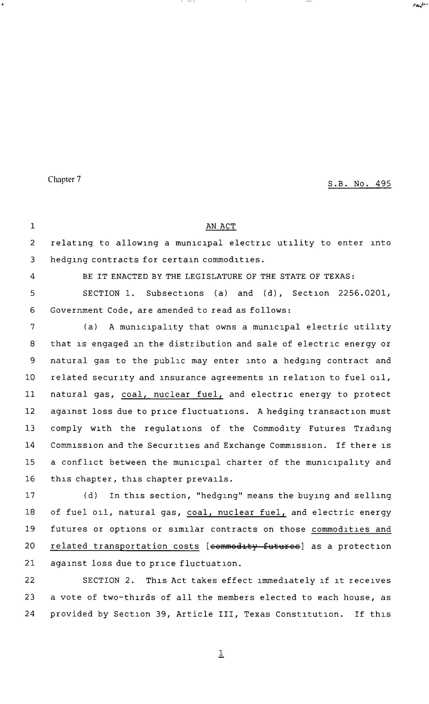 80th Texas Legislature, Regular Session, Senate Bill 495, Chapter 7                                                                                                      [Sequence #]: 1 of 2