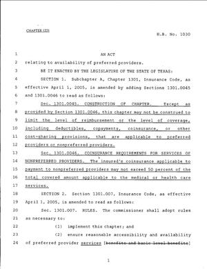 Primary view of object titled '79th Texas Legislature, Regular Session, House Bill 1030, Chapter 1221'.