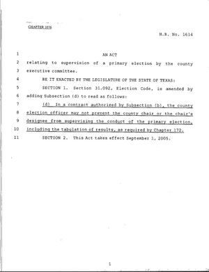 Primary view of object titled '79th Texas Legislature, Regular Session, House Bill 1614, Chapter 1076'.