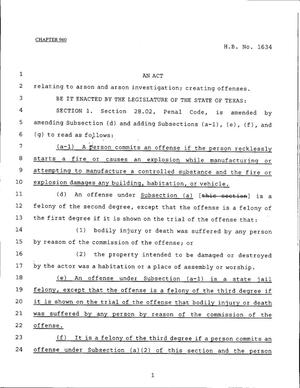 Primary view of object titled '79th Texas Legislature, Regular Session, House Bill 1634, Chapter 960'.