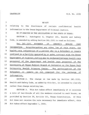 Primary view of object titled '79th Texas Legislature, Regular Session, House Bill 2195, Chapter 1270'.