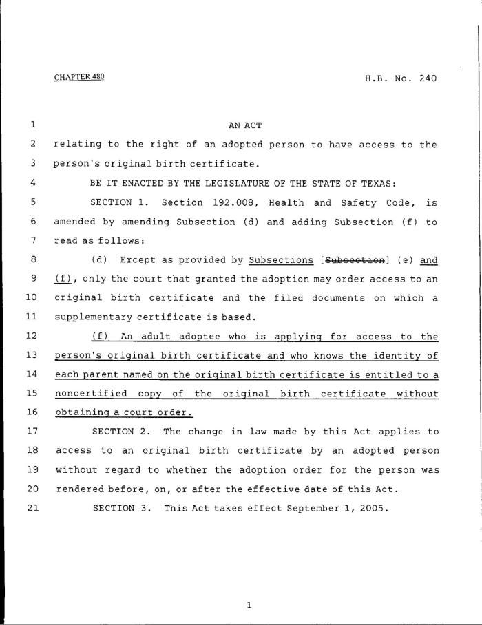 79th Texas Legislature Regular Session House Bill 240 Chapter 480