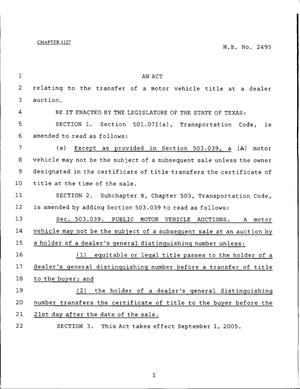 Primary view of object titled '79th Texas Legislature, Regular Session, House Bill 2495, Chapter 1127'.