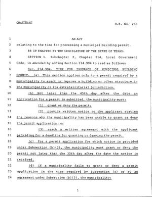 Primary view of object titled '79th Texas Legislature, Regular Session, House Bill 265, Chapter 917'.