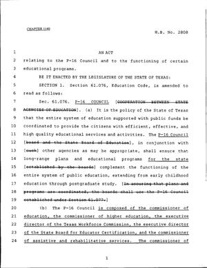 Primary view of object titled '79th Texas Legislature, Regular Session, House Bill 2808, Chapter 1140'.