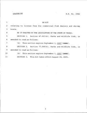 Primary view of object titled '79th Texas Legislature, Regular Session, House Bill 2942, Chapter 1303'.