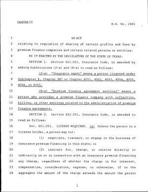 Primary view of object titled '79th Texas Legislature, Regular Session, House Bill 2965, Chapter 757'.