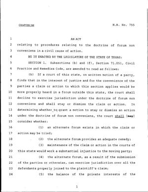 Primary view of object titled '79th Texas Legislature, Regular Session, House Bill 755, Chapter 248'.