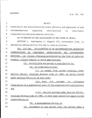 Primary view of object titled '79th Texas Legislature, Regular Session, House Bill 762, Chapter 53'.