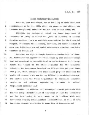 Primary view of 79th Texas Legislature, Regular Session, House Concurrent Resolution 237