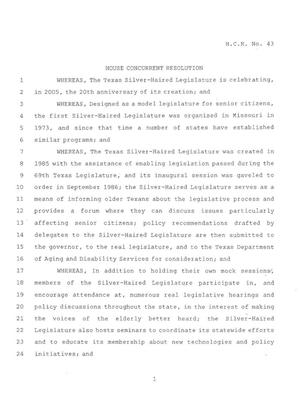 Primary view of object titled '79th Texas Legislature, Regular Session, House Concurrent Resolution 43'.