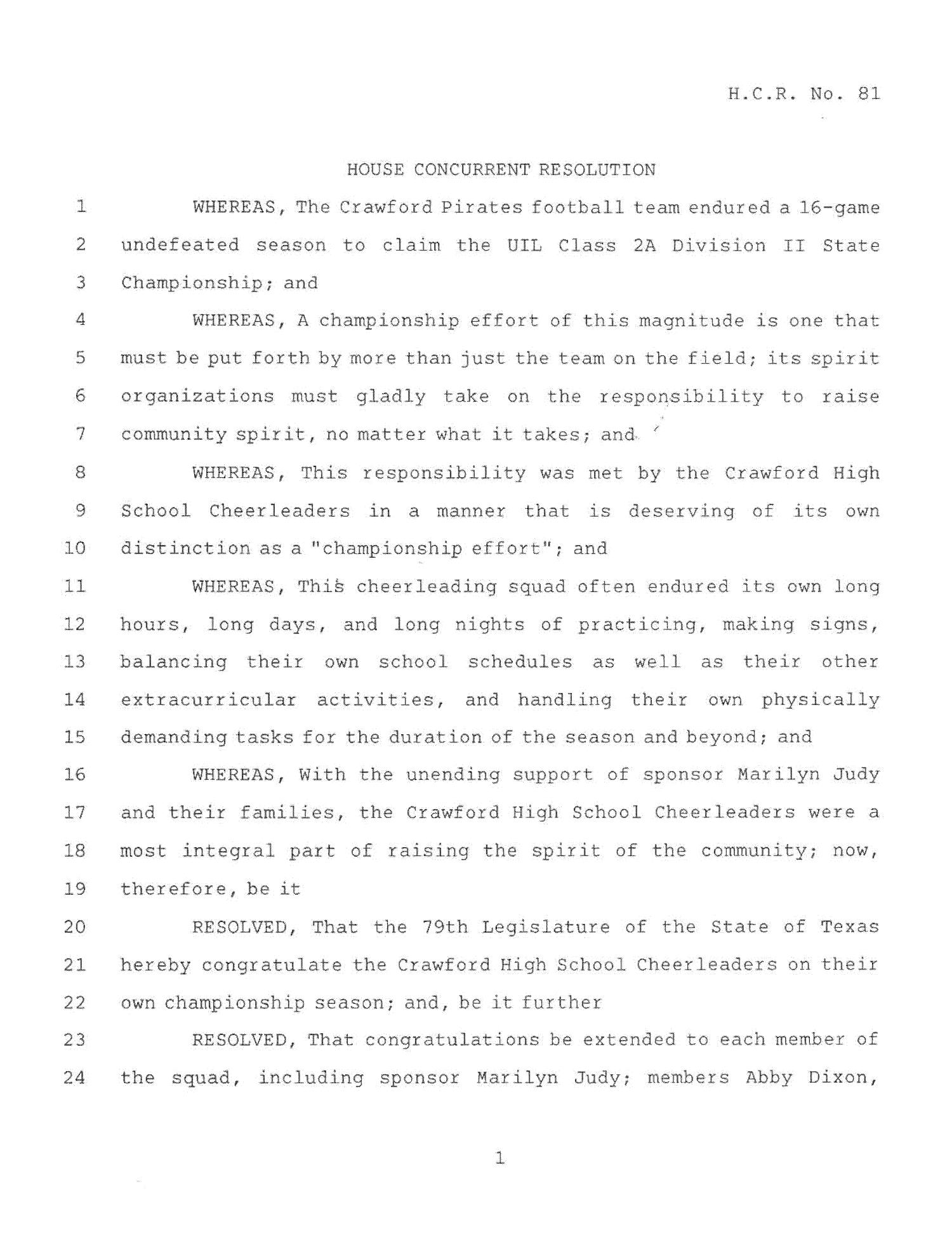 78th Texas Legislature, Regular Session, House Concurrent Resolutions 81                                                                                                      [Sequence #]: 1 of 3