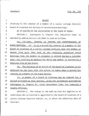 Primary view of object titled '79th Texas Legislature, Regular Session, Senate Bill 114, Chapter 673'.