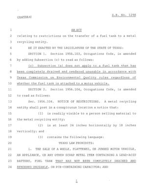 Primary view of object titled '79th Texas Legislature, Regular Session, Senate Bill 1298, Chapter 47'.