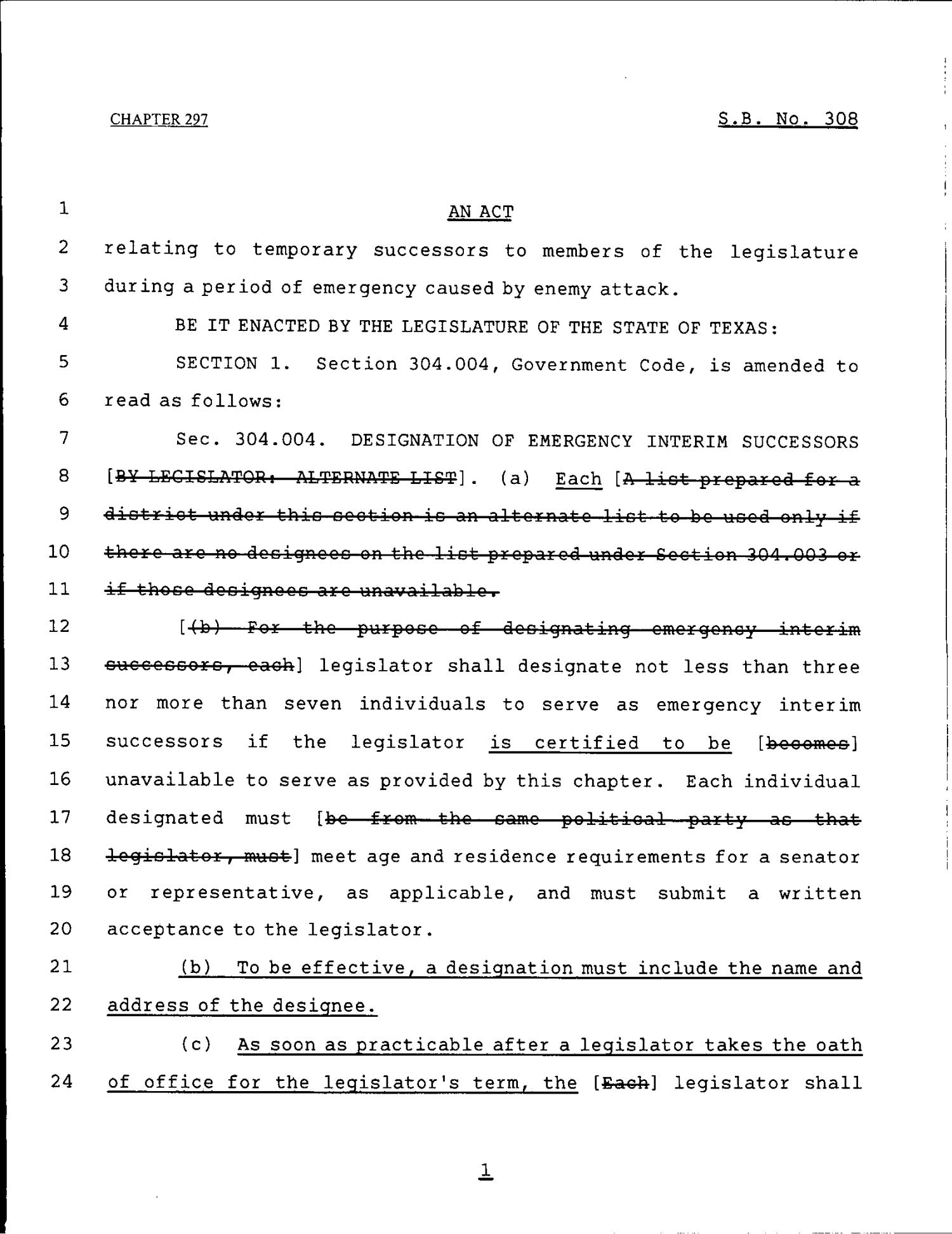 79th Texas Legislature, Regular Session, Senate Bill 308, Chapter 297                                                                                                      [Sequence #]: 1 of 8