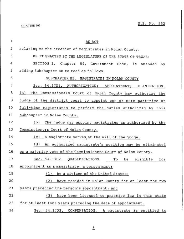 79th Texas Legislature Regular Session Senate Bill 552 Chapter – Format for a Bill
