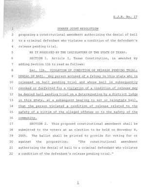 Primary view of object titled '79th Texas Legislature, Regular Session, Senate Joint Resolution 17'.