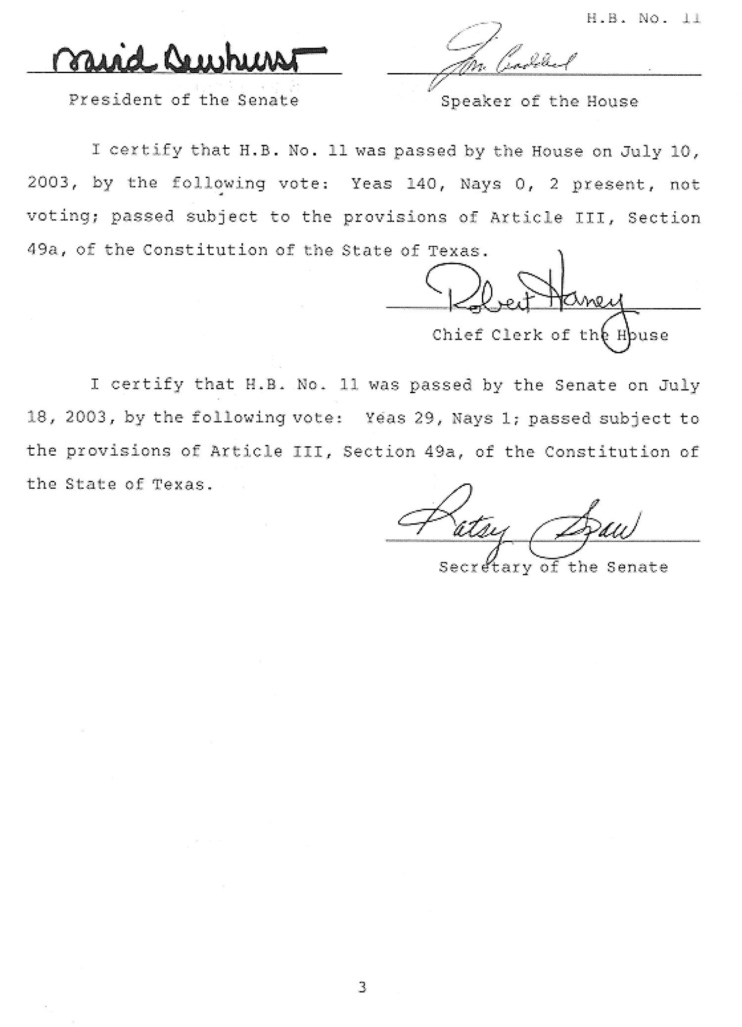 78th Texas Legislature, First Called Session, House Bill 11, Chapter 1                                                                                                      [Sequence #]: 3 of 4