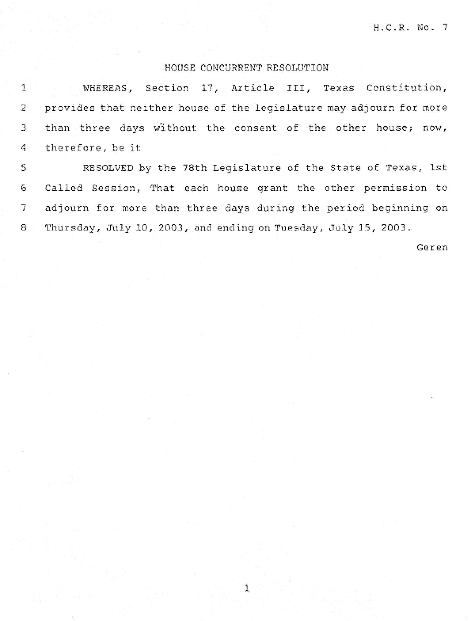 78th Texas Legislature, First Called Session, House Concurrent Resolution 7                                                                                                      [Sequence #]: 1 of 2