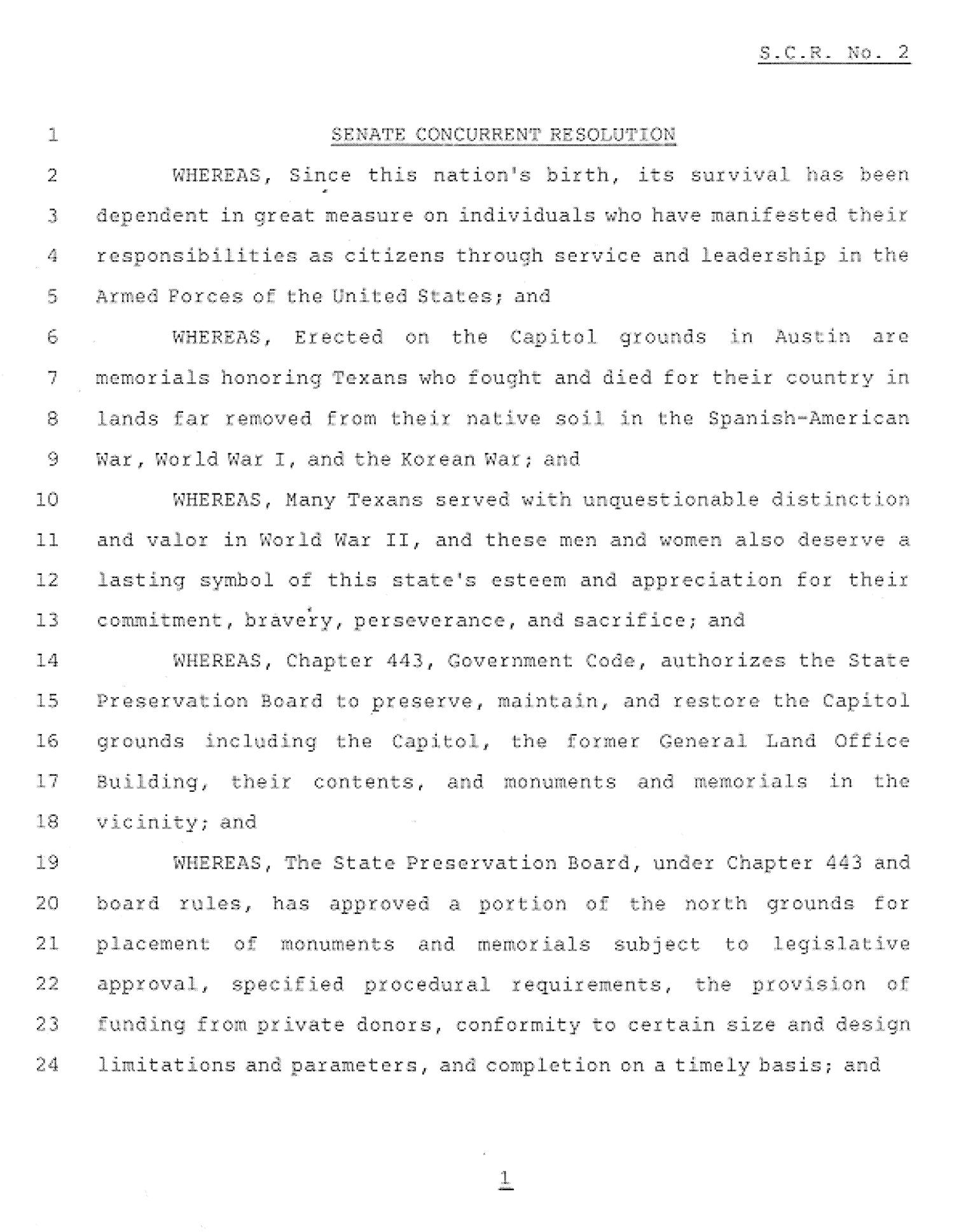 78th Texas Legislature, First Called Session, Senate Concurrent Resolution 2                                                                                                      [Sequence #]: 1 of 3