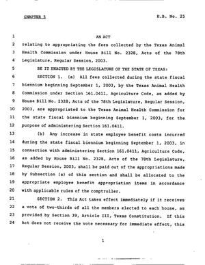 Primary view of object titled '78th Texas Legislature, Third Called Session, House Bill 25, Chapter 5'.
