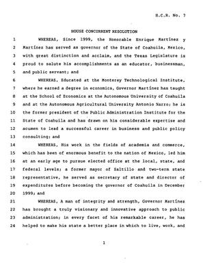 78th Texas Legislature, Third Called Session, House Concurrent Resolution 7