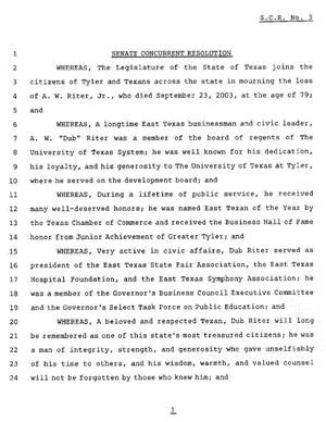 Primary view of object titled '78th Texas Legislature, Third Called Session, Senate Concurrent Resolution 3'.