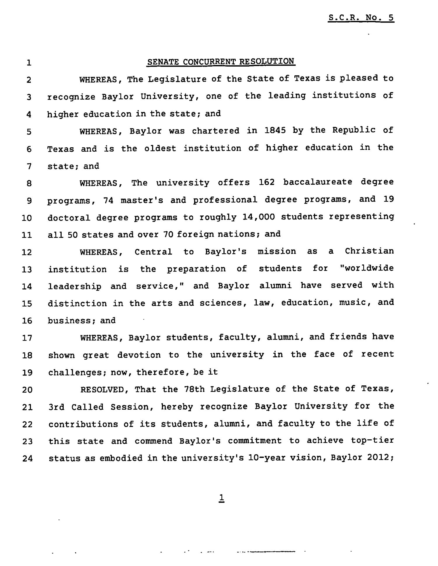 78th Texas Legislature, Third Called Session, Senate Concurrent Resolution 5                                                                                                      [Sequence #]: 1 of 2