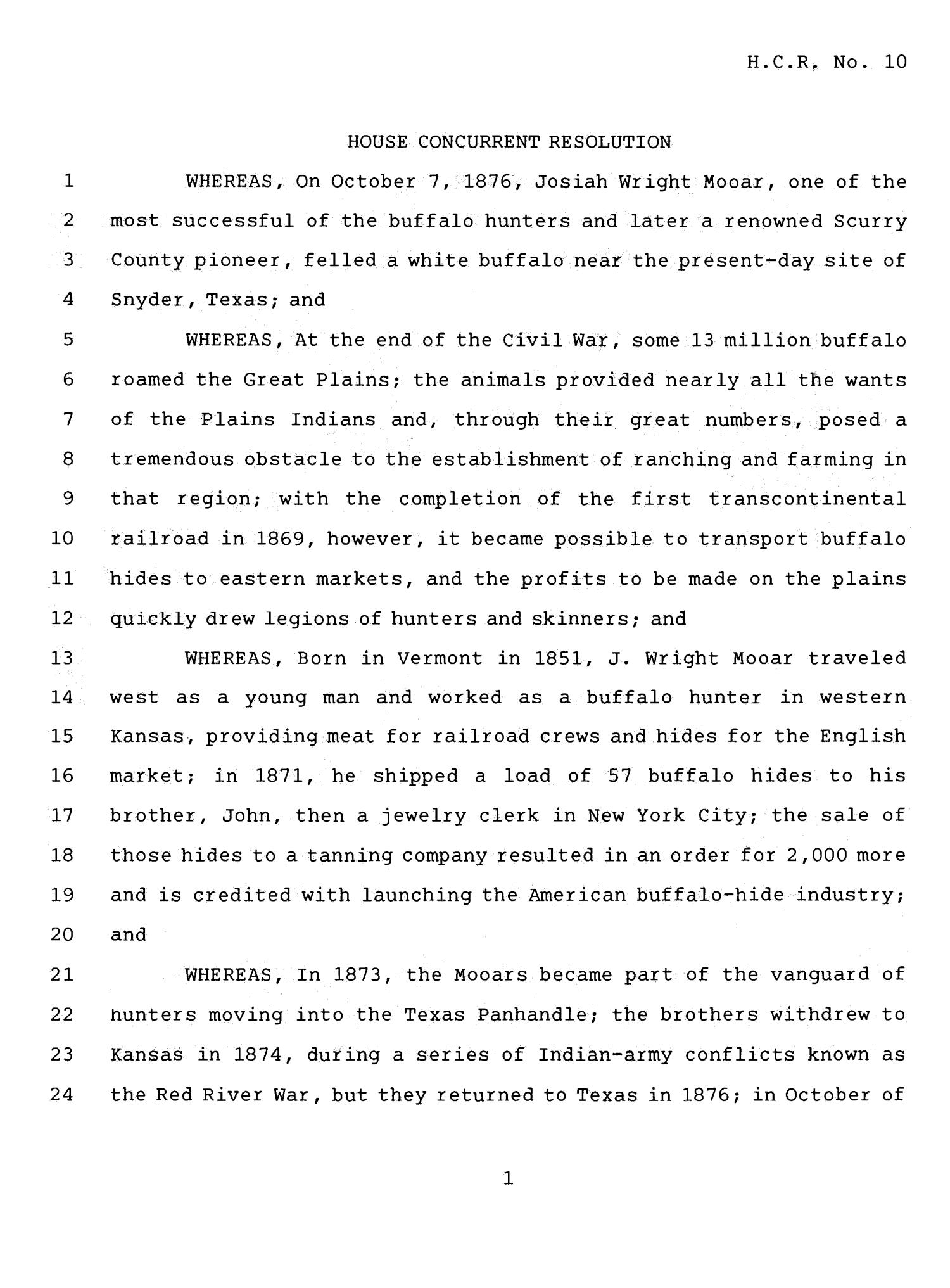 78th Texas Legislature, Fourth Called Session, House Concurrent Resolution 10                                                                                                      [Sequence #]: 1 of 5