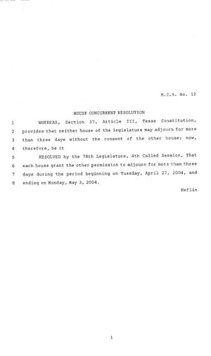 78th Texas Legislature, Fourth Called Session, House Concurrent Resolution 12