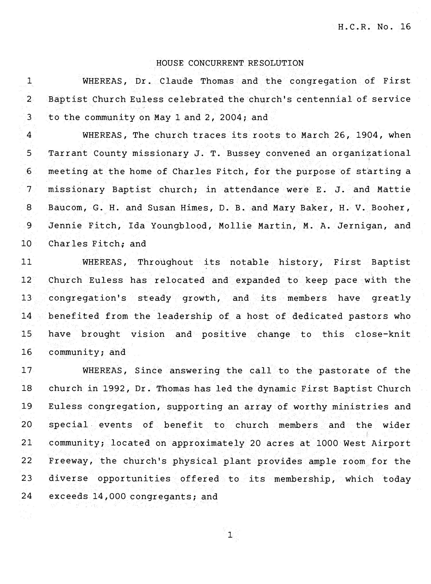 78th Texas Legislature, Fourth Called Session, House Concurrent Resolution 16                                                                                                      [Sequence #]: 1 of 3