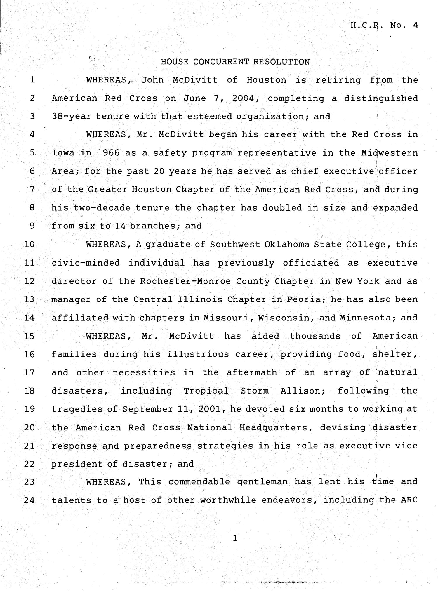 78th Texas Legislature, Fourth Called Session, House Concurrent Resolution 4                                                                                                      [Sequence #]: 1 of 3