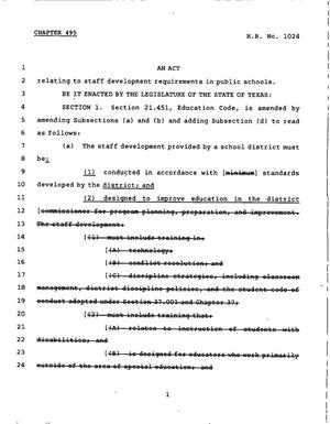 Primary view of object titled '78th Texas Legislature, Regular Session, House Bill 1024, Chapter 495'.