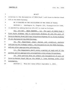 Primary view of object titled '78th Texas Legislature, Regular Session, House Bill 1049, Chapter 45'.