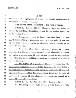 78th Texas Legislature, Regular Session, House Bill 1056, Chapter 499