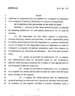 Primary view of object titled '78th Texas Legislature, Regular Session, House Bill 111, Chapter 215'.