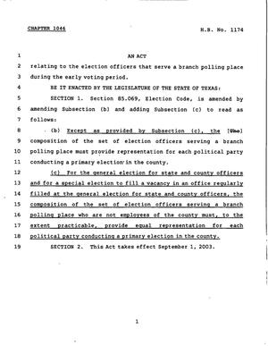 Primary view of object titled '78th Texas Legislature, Regular Session, House Bill 1174, Chapter 1046'.