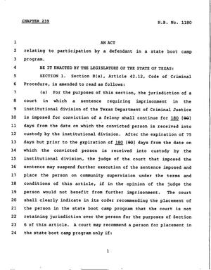 Primary view of object titled '78th Texas Legislature, Regular Session, House Bill 1180, Chapter 239'.