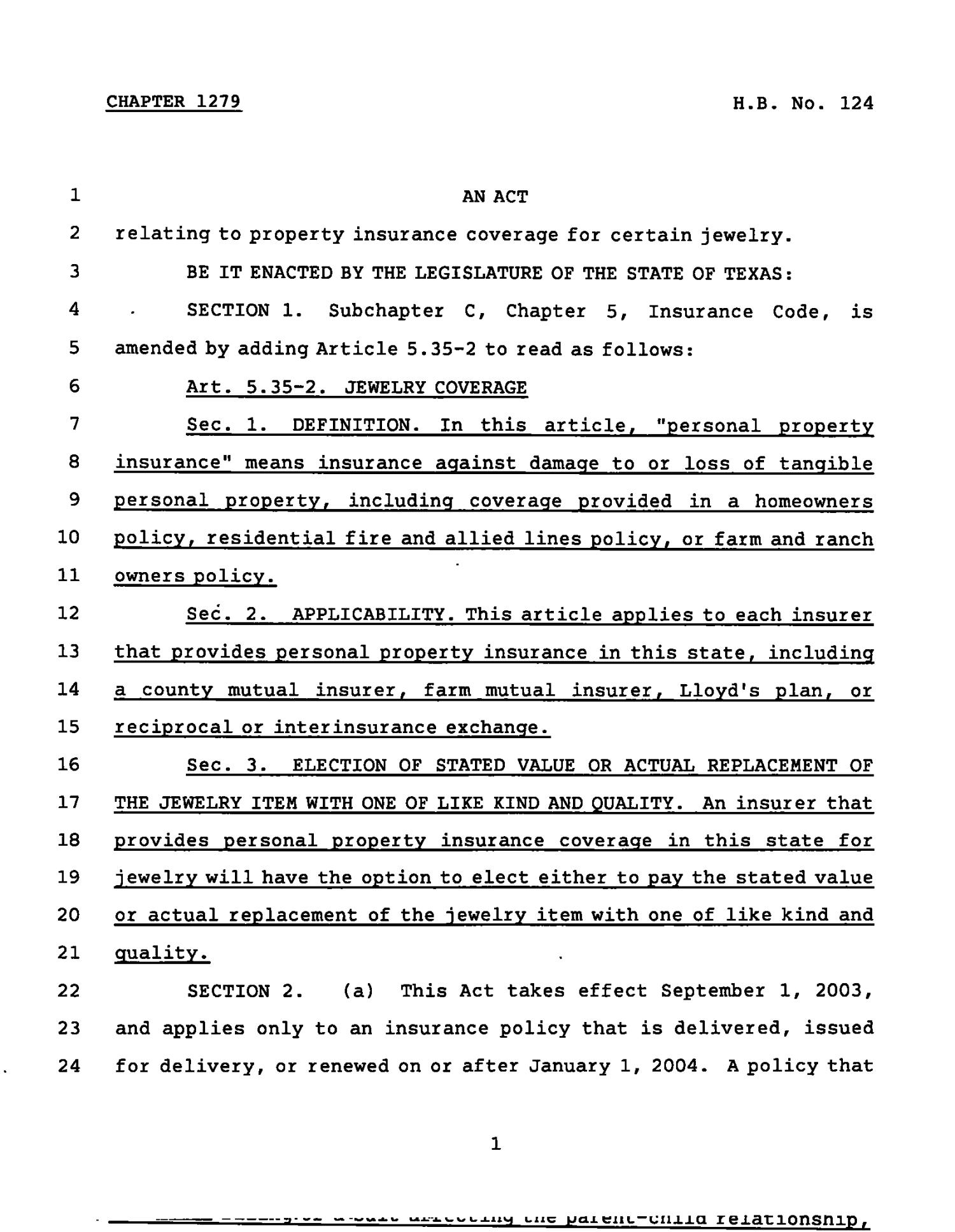 78th Texas Legislature, Regular Session, House Bill 124, Chapter 1279                                                                                                      [Sequence #]: 1 of 3