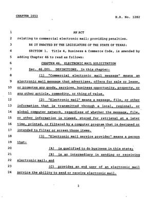 78th Texas Legislature, Regular Session, House Bill 1282, Chapter 1053