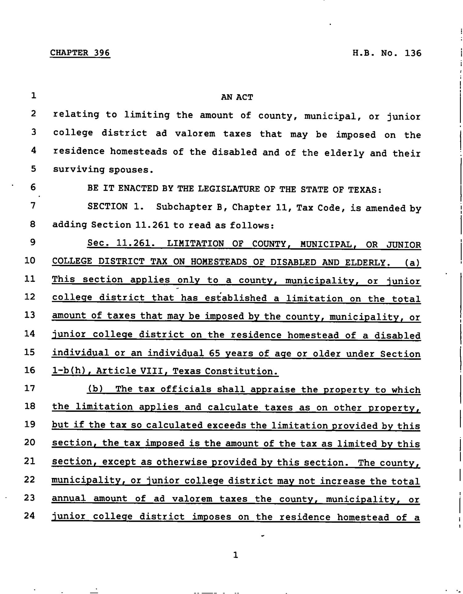 78th Texas Legislature, Regular Session, House Bill 136, Chapter 396                                                                                                      [Sequence #]: 1 of 11