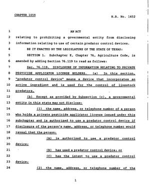 78th Texas Legislature, Regular Session, House Bill 1452, Chapter 1059