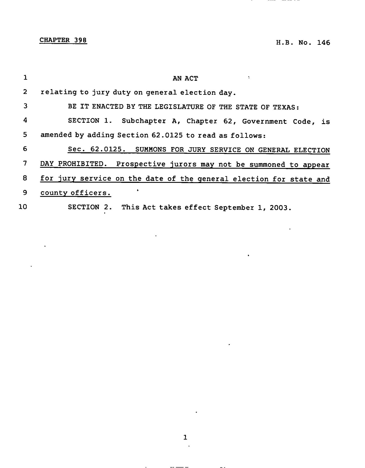 78th Texas Legislature, Regular Session, House Bill 146, Chapter 398                                                                                                      [Sequence #]: 1 of 2