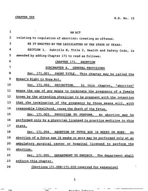 Primary view of object titled '78th Texas Legislature, Regular Session, House Bill 15, Chapter 999'.