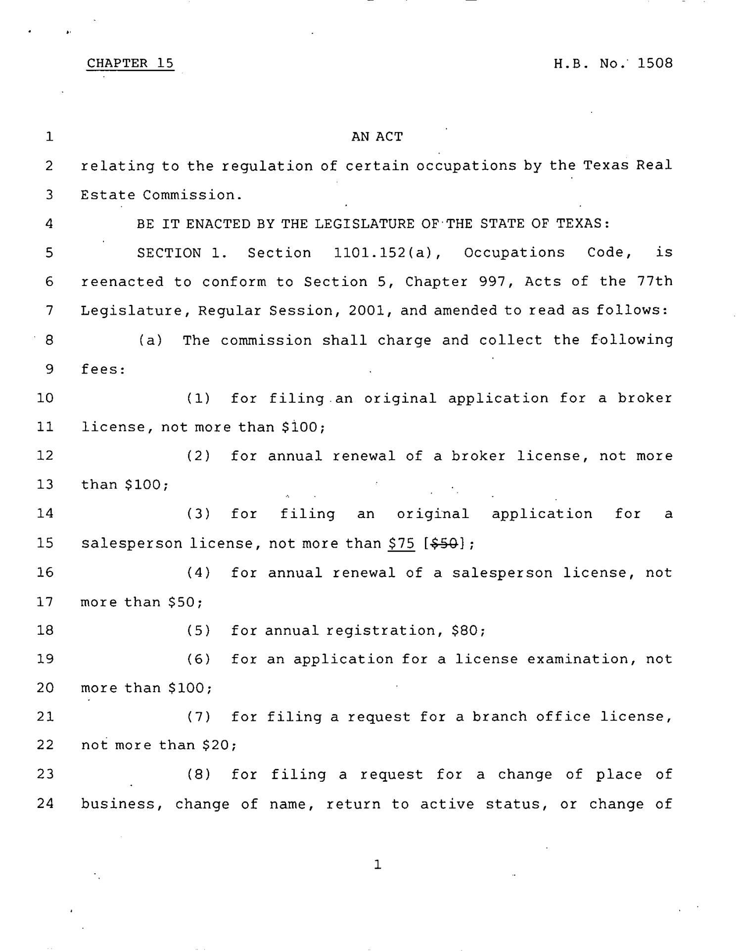 78th Texas Legislature, Regular Session, House Bill 1508, Chapter 15                                                                                                      [Sequence #]: 1 of 10