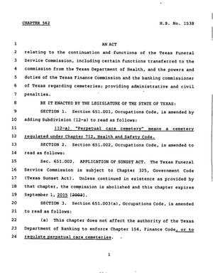 Primary view of object titled '78th Texas Legislature, Regular Session, House Bill 1538, Chapter 562'.