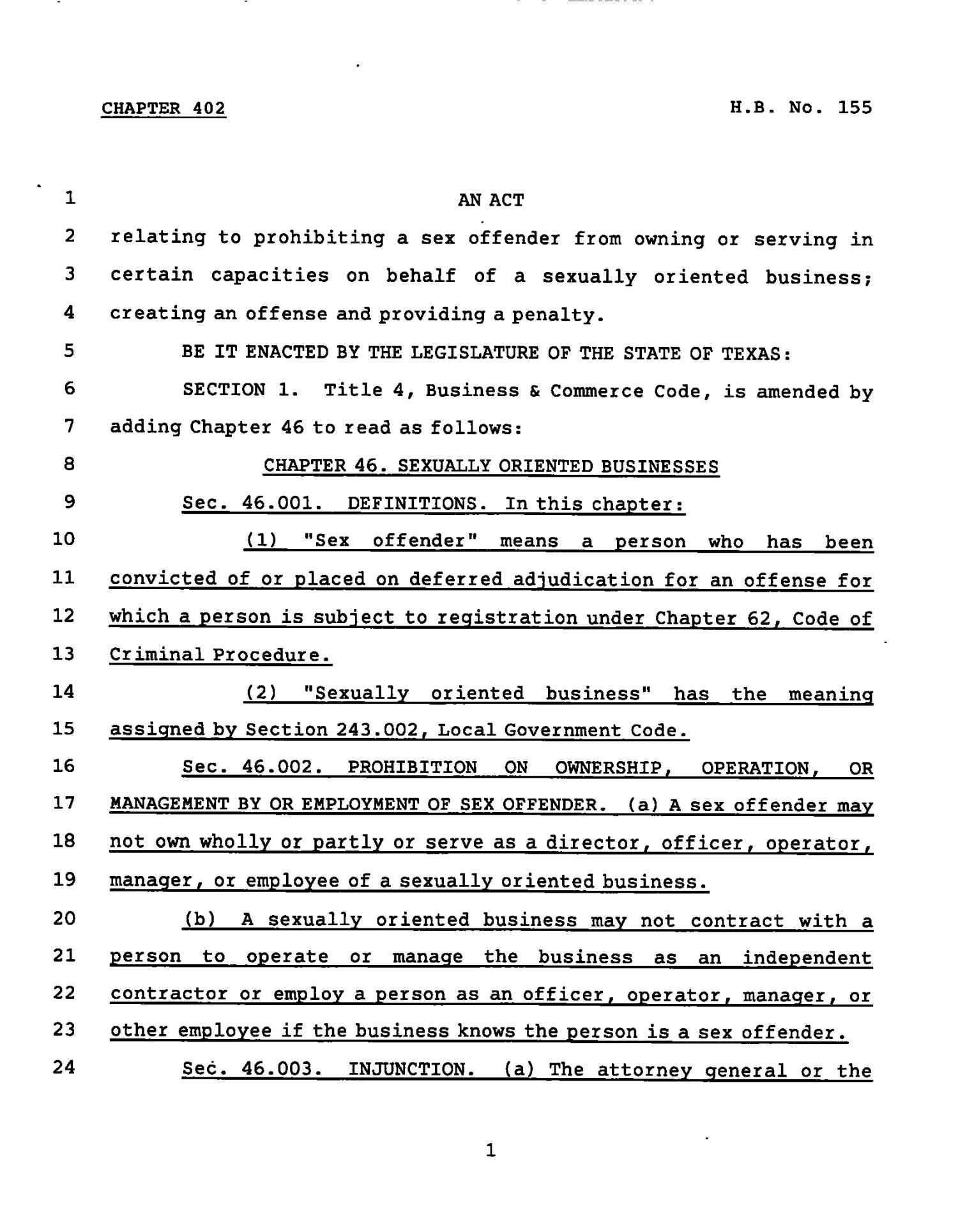 78th Texas Legislature, Regular Session, House Bill 155, Chapter 402                                                                                                      [Sequence #]: 1 of 3
