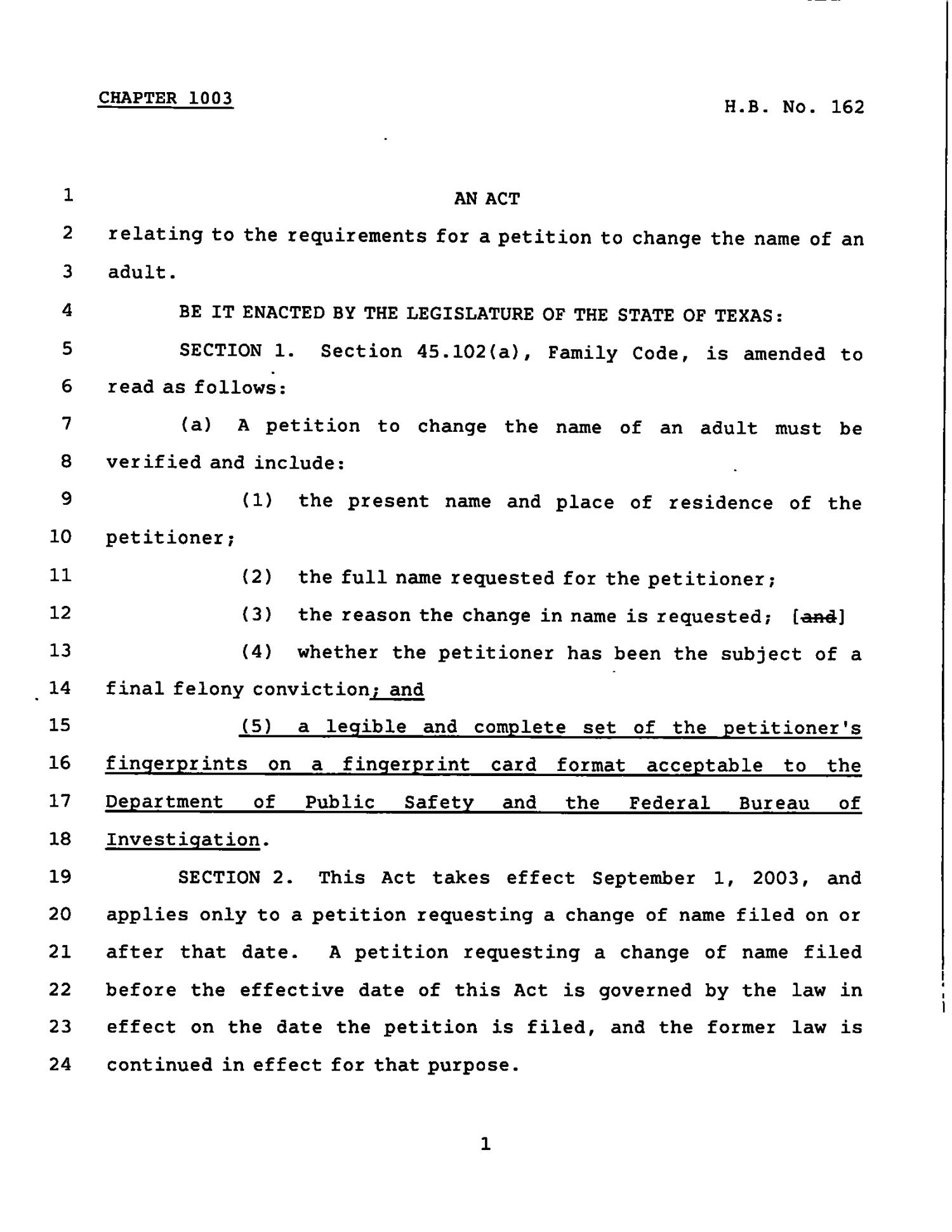 78th Texas Legislature, Regular Session, House Bill 162, Chapter 1003                                                                                                      [Sequence #]: 1 of 2
